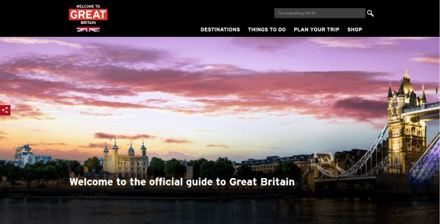 VisitBritain website homepage