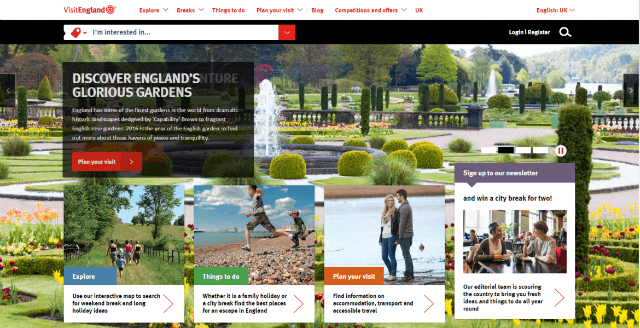 VisitEngland homepage featuring an image of a garden