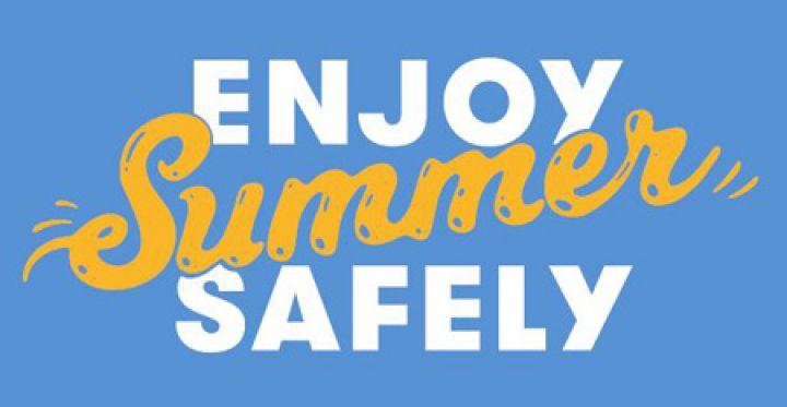 Enjoy Summer Safely logo on a blue background