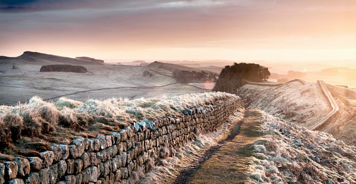 View along Hadrian's Wall on a frosty morning, England