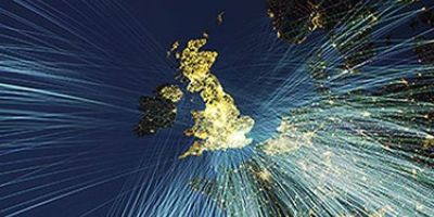 Image of the UK with flight paths of incoming air traffic