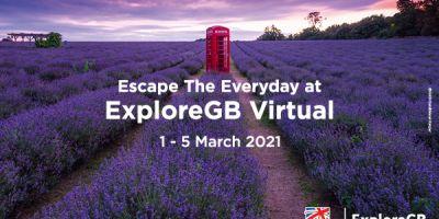 Red telephone box in a lavendar field