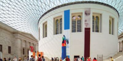 Cover of the London Planner brochure, featuring the British Museum, we created with London & Partners