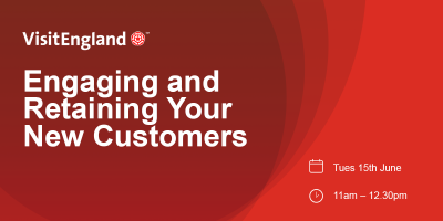 Red banner with text Engaging and retaining your new customers webinar