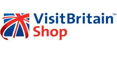 VisitBritain Shop logo, red, blue and white union jack flag with Visitbritian text in blue and shop text in red