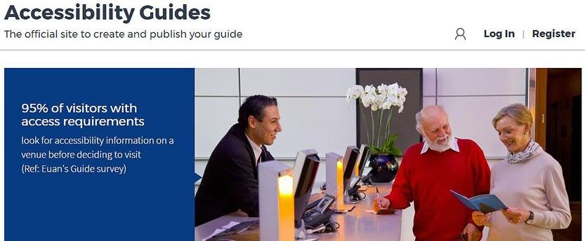 Screengrab of the Accessibility Guides website showing an elderly couple checking into a hotel