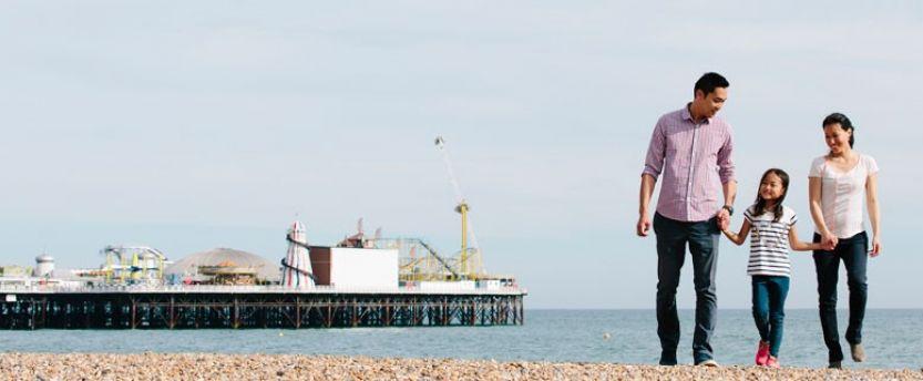 Chinese family on Brighton beach