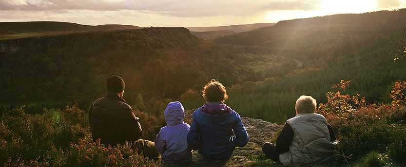 Family looking at sunset