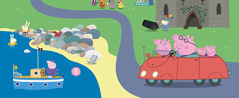 Crop of map showing Peppa Pig and family in a car by a lake
