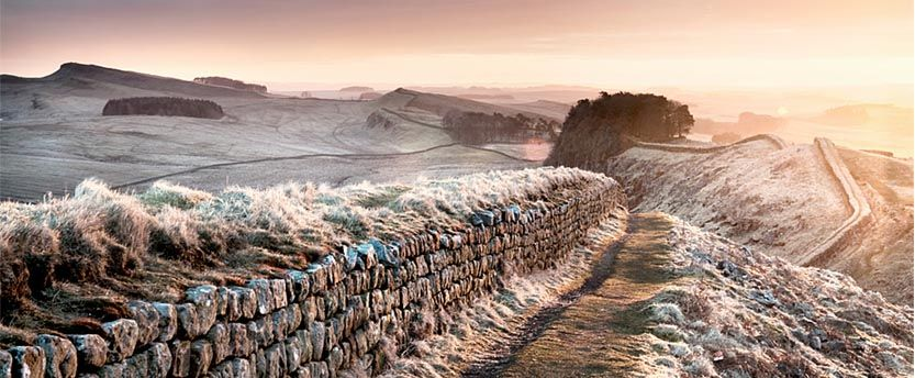A view of Hadrian's wall in a light dusting of snow