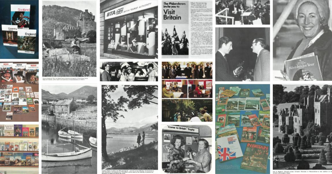 A collage of vintage marketing materials from the 1970s showing VisitBritain's activities and campaigns.
