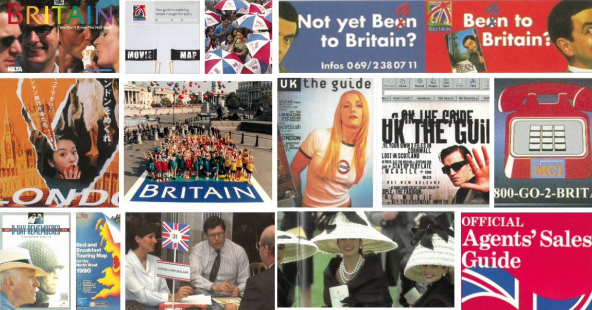 A collage of vintage marketing materials showing VisitBritain's activities and campaigns from the 1990s.