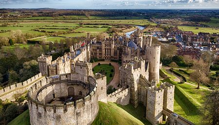 Aerial view of Arundel Castle and the landscape in West Sussex.