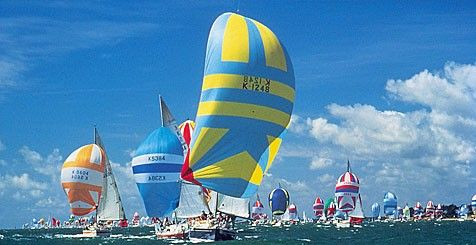 A sailboat on a sea with bright yellow and blue sails against a blue sky, with lots of boats in the distance