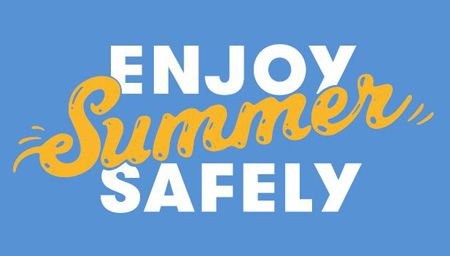 Enjoy Summer Safely logo on a blue background