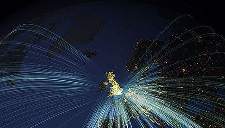 Night-time picture of flight paths to the UK