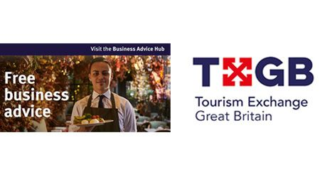 A waiter holding a plate of food and the TXGB logo