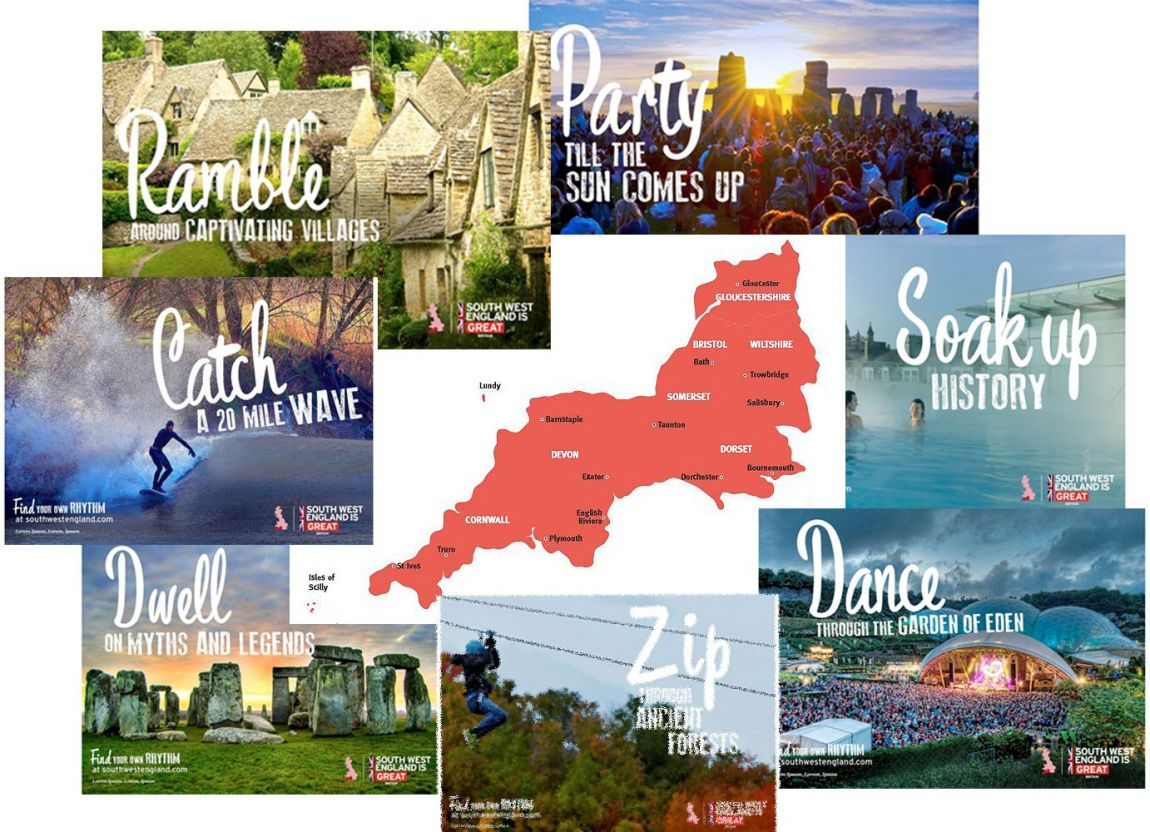 A collage of great campaign posters featured around a map of South West England. Campaigns for party,soak up,dance, zip, dwell, catch, and ramble