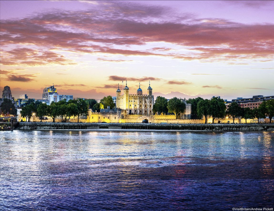 Tower of London at twilight viewed from across the River Thames
