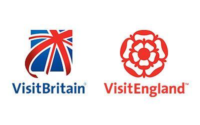 Logos of VisitBritain (a Union Jack flag) and VisitEngland (a Tudor rose)