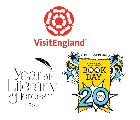 Collage of logos featuring VisitEngland, Year of Literary Heroes and World Book Day