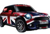A Mini Cooper car with Union Jack paintwork on a white background