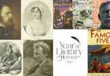 A collage of famous literary writers and famous book covers