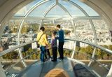 A man, woman and two young children look out over London from the top of the London Eye