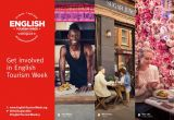 A poster featuring businesses: English Tourism Week 2019 Logo, a smiling man with dreads looking out from a kiosk, a man and woman eating outside a restaurant and a blonde woman sitting in a cafe looking at her phone against a wallpaper of pink roses