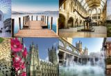 A collage of top attractions. A large white building white a blue glass roof, A wooden dock on a lake, entrance to the natural history museum, a large green house, a cheetah laid on grass, Houses of parliament, The roman baths and a palace