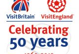 "VisitBritain and VisitEngland logos with ""Celebrating 50 Years 1969-2019"" below"
