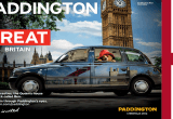 Paddington bear riding past Big Ben, London in a black cab with, Paddington is Great campaign artwork