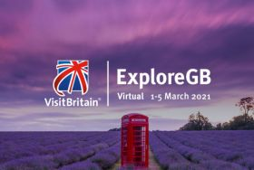 ExploreGB logo on field of lavender with red postbox
