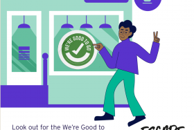 A cartoon illustration of a man entering a coffee shop with a We're Good to Go sign on the window