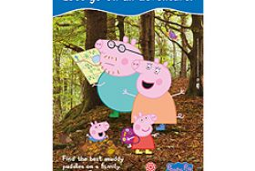 Image showing cartoon characters Peppa Pig and her family in a real forest setting with VisitEngland and Peppa Pig branding