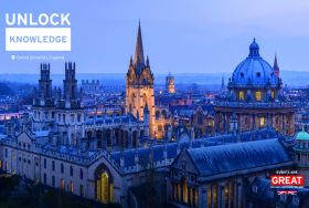 Aerial view of Oxford University with Unlock Knowledge creative for Events are GREAT