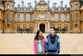Couple enjoying the grounds at Waddesdon Manor