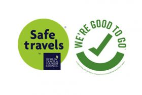 WTTC safe travels logo and We're Good to Go logo