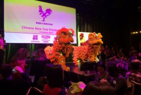 Chinese dragons dancing at VisitBritain's Chinese New Year preview event