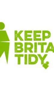 Keep Britain Tidy logo with green man putting something in a bin