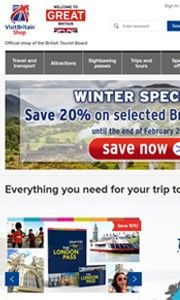 screenshot of homepage of VisitBritain shop