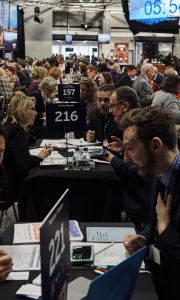 UK and Irish suppliers sat at tables having business meetings with international buyers at ExploreGB 2019