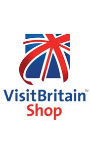 VisiBritain shop logo. Blue, red and white union jack flag with VisitBritain Shop text