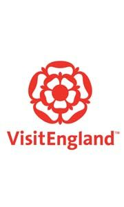 VisitEngland logo, red rose with red text