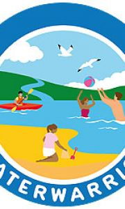 water warriors logo with animated pictures of people on a beach