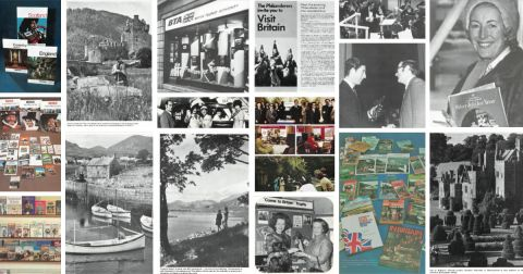 A collage of VisitBritain's activities and campaigns from vintage marketing materials from the 1970s