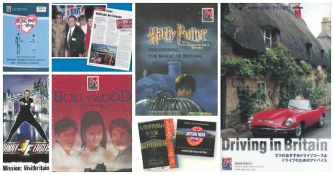 A collage of VisitBritain's activities and campaigns from vintage marketing materials from the 2000's