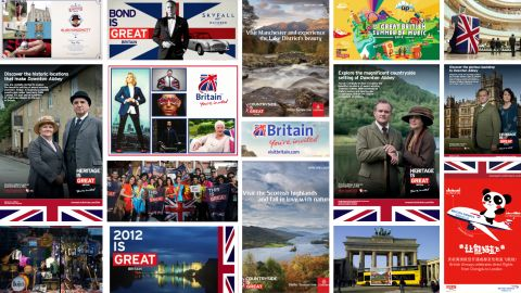 A collage of vintage marketing materials showing VisitBritain's activities and campaigns from the 2010s.