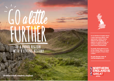 A landscape shot of a stone wall and green field in Cumbria, England. The text 'Go a little further, To a proud region with a living history' features on the left side of the page. a pink strip runs down the right side with 'Northen England is great' logo