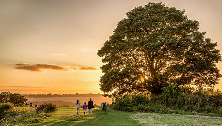 A family take an evening walk in a field near Old Sarum, Wiltshire, England